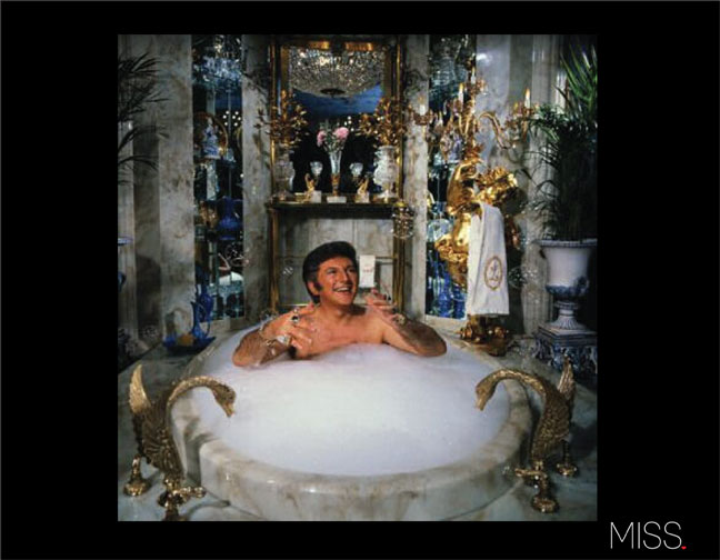 Liberace in his bathroom